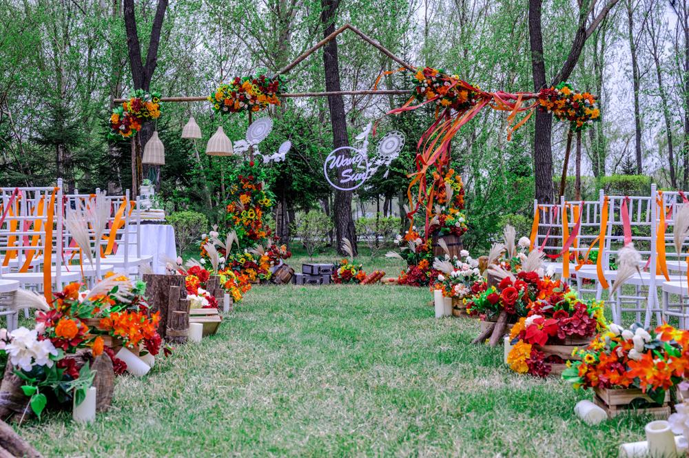 橙色复古草坪婚礼
